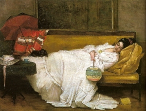 Girl in a white dress resting on a sofa - Alfred Stevens