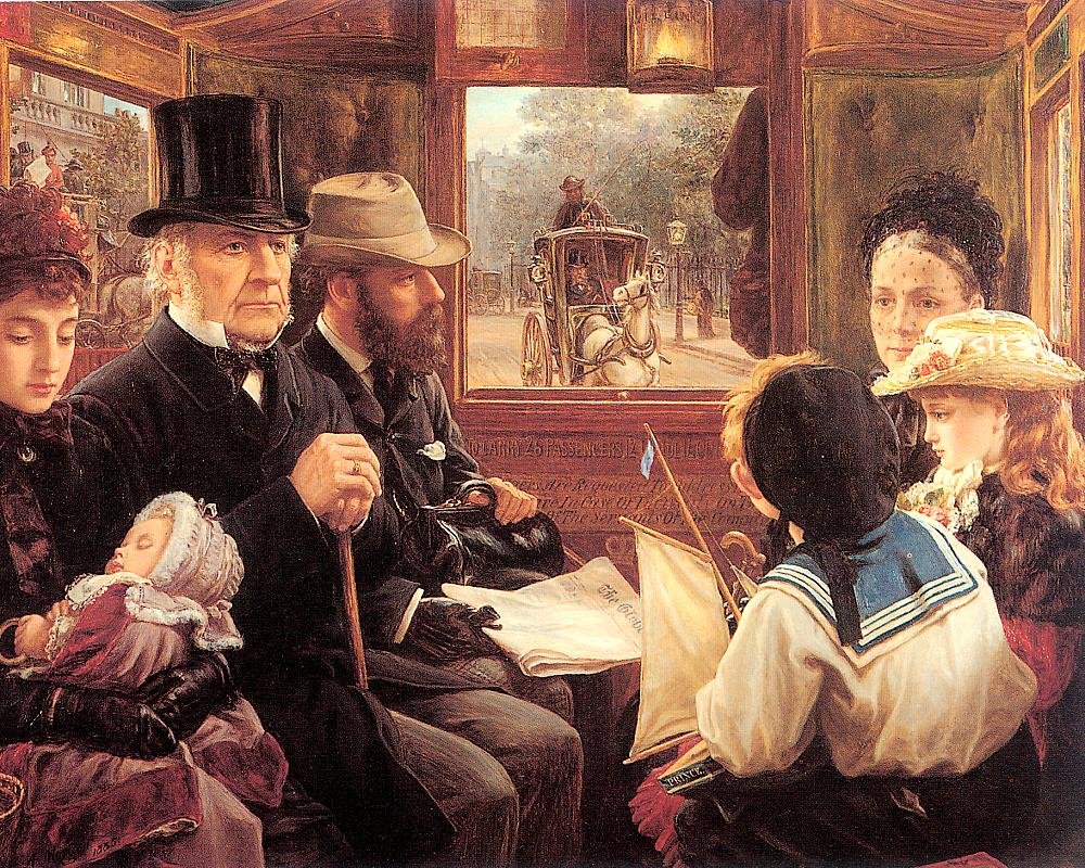 Gladstone in an Omnibus Oil on canvas, 1885, Private collection