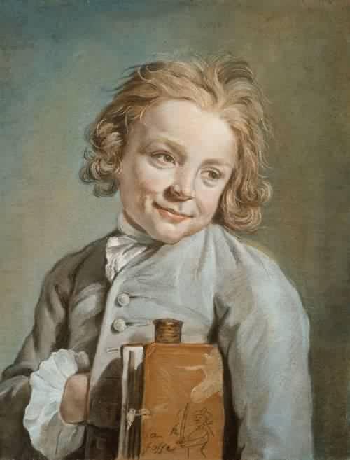 Portrait of a Boy Holding a Portfolio - Nicolas Bernard Lépicié