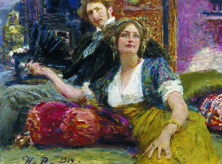 Портрет поэта С.М.Городецкого с женой, 1914, oil, canvas